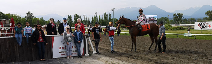 Dixie and Roy Jacobson in the winners circle with their Coulterberry winner of Sunday's feature race at Hastings Racecourse. South End Photos